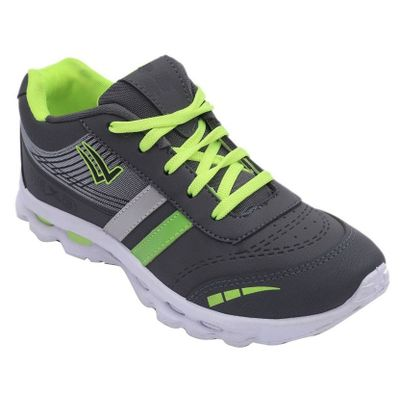 Men's Grey and Green Sports Shoes