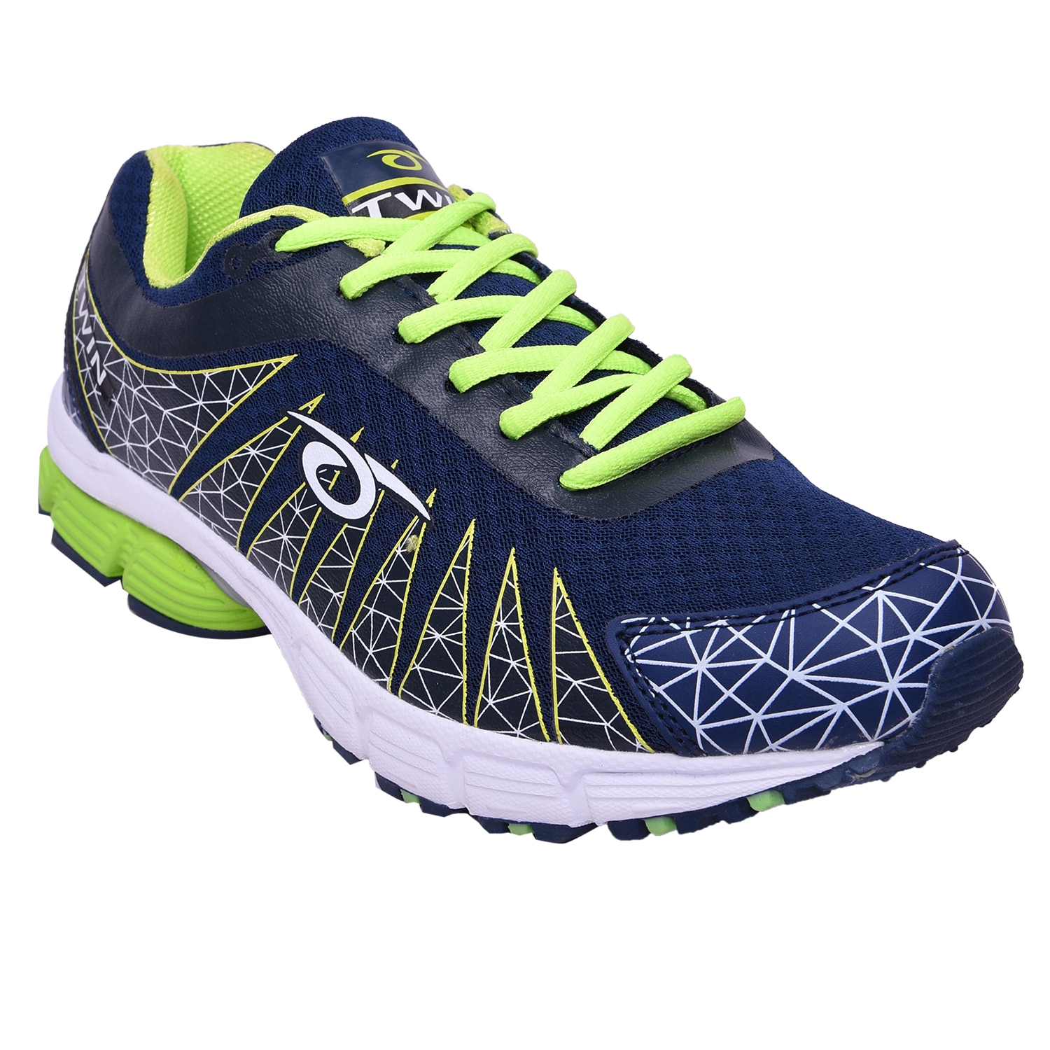 Mens Sports shoe TPH-P-202_Navy and lime colour