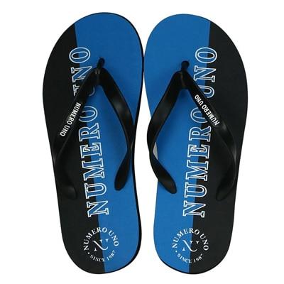 Numero Uno Mens Black/Blue Slippers