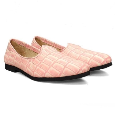 Pink Croco Print Leather Jalsa Slip-on with Black Sole by Bareskin