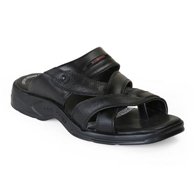 Red Chief Men RC0593 Black Slippers