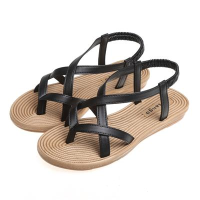 Roman Style Solid Color Flat Cross-Strap Sandals