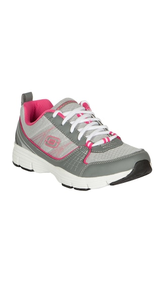Fashion End of Season Sale!! Upto 60% Cashback On Footwear By Paytm | Skechers Women Uninterrupted - Stolen II Grey and Hot Pink Training Shoes @ Rs.2,159