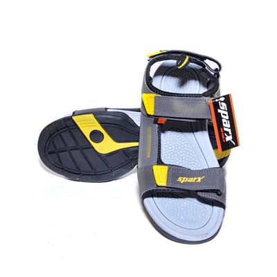 Sparx Grey And Yellow Sandals