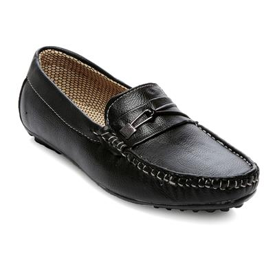 TEN Black Faux Leather Loafers
