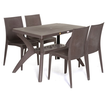 varmora 1 4 dinning table set savor brown