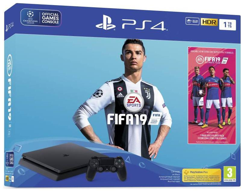 Sony PlayStation 4 (PS4) 1 TB with FIFA 19 (Jet Black)