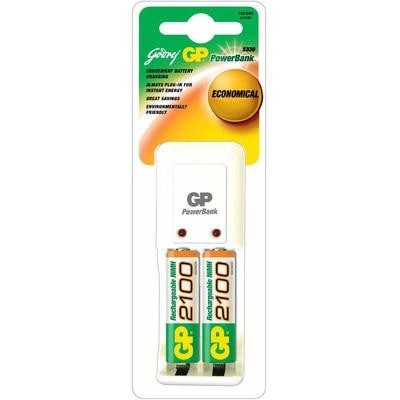 Godrej GP PB 3302 ROHS Battery Charger (With 2 Pcs GP 2100 mAh AA Batteries) (White)