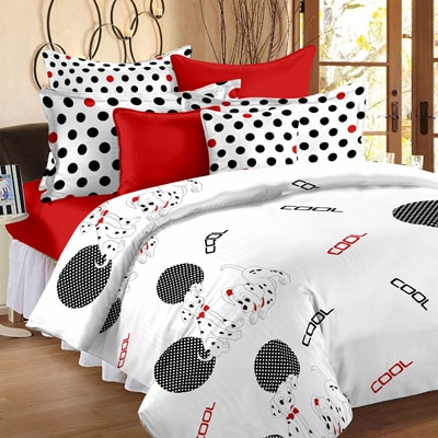 Story@Home Metro White Cotton Double Bedsheet With Pillow Cover