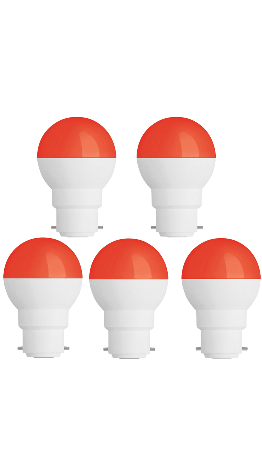 0.5W-Led-Candel-Night-White-Lamp-Round-(Red,-Pack-of-5)