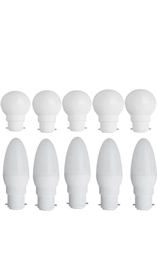 0.5W-Led-Candel-Night-White-Lamp-Round-&-Oval-(White,-Pack-of-10)