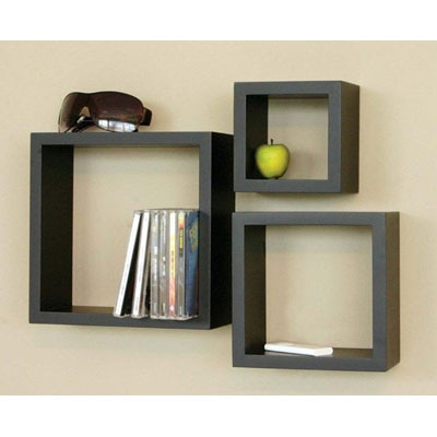 Home Sparkle Wooden Cube Wall Shelves Set Of 3