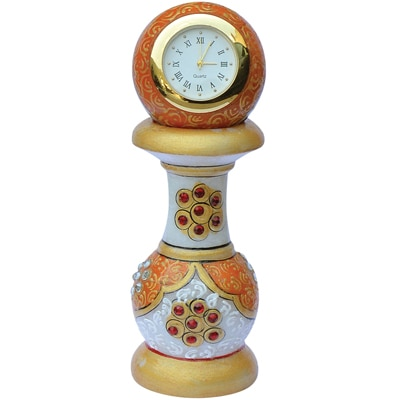 Indo Marble Tower Clock- Gold Painted