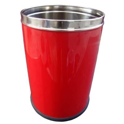 Hmsteels Stainless Steel Open Bin Hamper Dustbin Plain Red Color 20.5 X 30.5 Cm