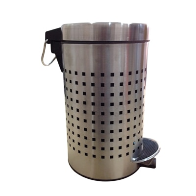 Hmsteels Stainless Steel Pedal Dustbin Square Perforated 20 X 34 Cm With Free Plastic Bucket Inside