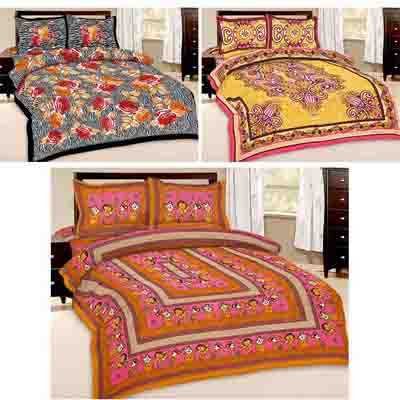 2dots 3 Classy Double Bedsheet And 6 Pillow Covers