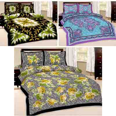 2dots 3 Double Bedsheet And 6 Pillow Covers