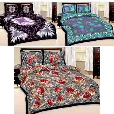 2dots 3 Superior Double Bedsheet And 6 Pillow Covers