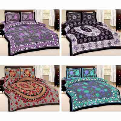 2dots 4 Modern Double Bedsheet And 8 Pillow Covers