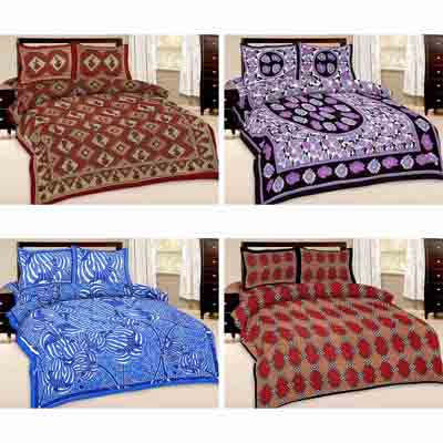2dots Elegant Print 4 Double Bedsheet And 8 Pillow Covers