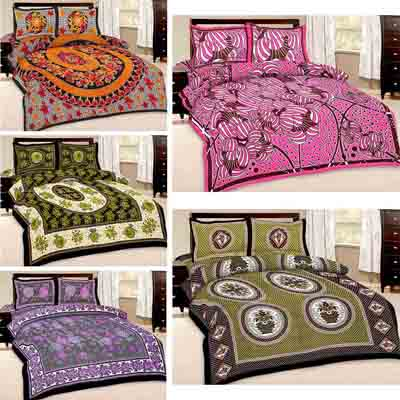 2dots Graceful 5 Double Bedsheet And 10 Pillow Covers