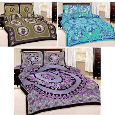 2dots Graceful 3 Double Bedsheet And 6 Pillow Covers - 31901305