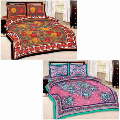 2dots Modern Print 2 Double Bedsheet And 4 Pillow Covers - 31901289