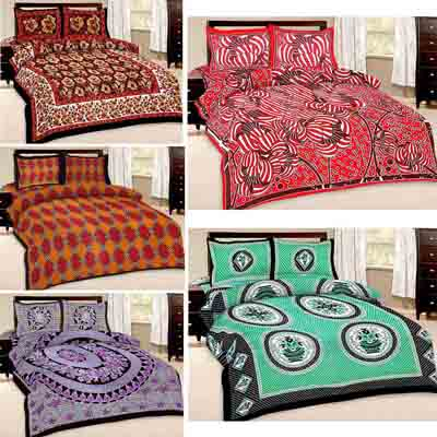 2dots Printed 5 Double Bedsheet And 10 Pillow Covers