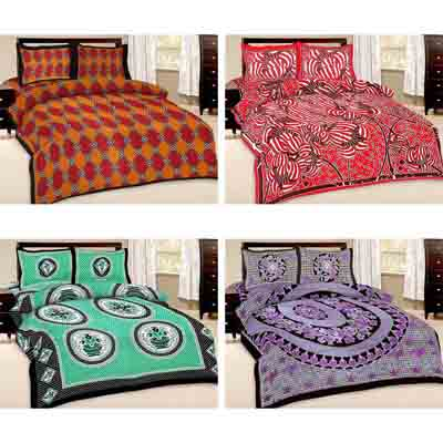 2dots Printed 4 Fabulous Double Bedsheet And 8 Pillow Covers