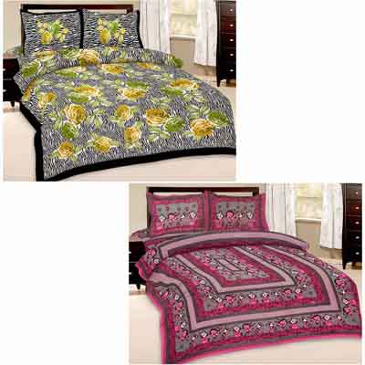2dots Printed 2 Double Bedsheet And 4 Pillow Covers