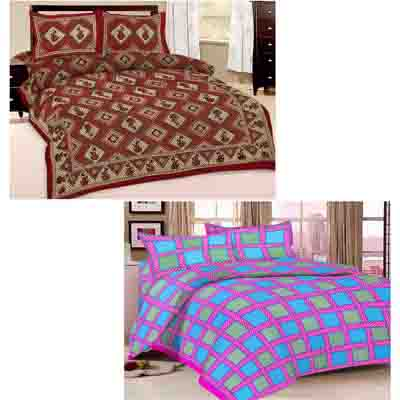 2dots Stylish 2 Double Bedsheet And 4 Pillow Covers - 31901274