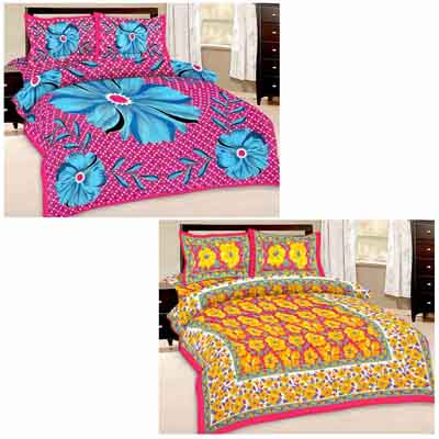 2dots Stylish 2 Double Bedsheet And 4 Pillow Covers