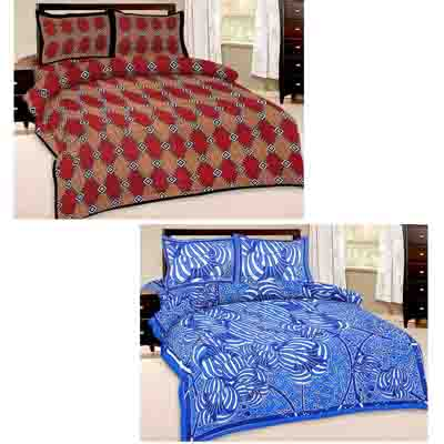2dots Traditional Print 2 Double Bedsheet And 4 Pillow Covers - 31901275