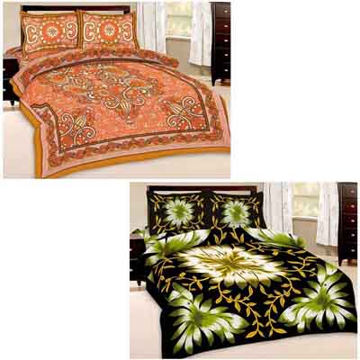 2dots Traditional Print 2 Double Bedsheet And 4 Pillow Covers - 31901287