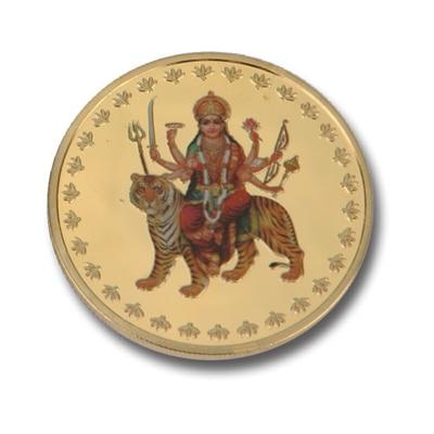 Aarya 24kt Gold Plated Colour Durga Maa Coin