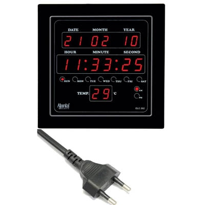 Ajanta Quartz Black LED Digital Wall Clock
