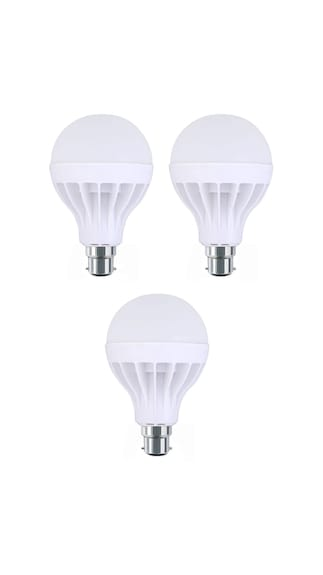7W Plastic White LED Bulb (Pack Of 3)