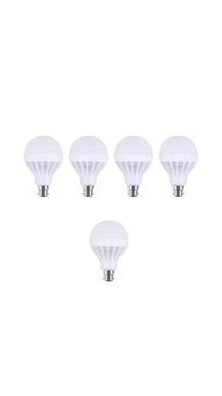 12W Plastic White LED Bulb (Pack Of 5)