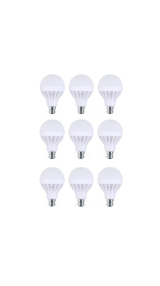 12W-Plastic-White-LED-Bulb-(Pack-Of-9)