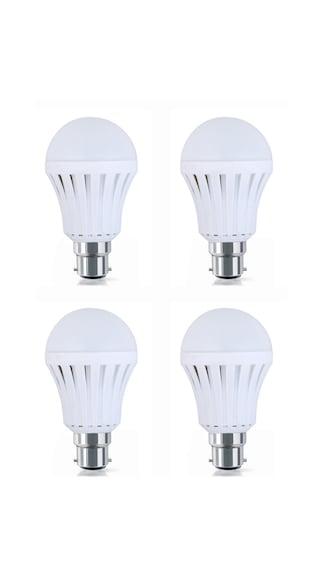 9W Plastic White LED Bulb (Pack Of 4)