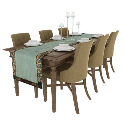 Art Horizons 6 Seater Dupion Sea Green Table Runner