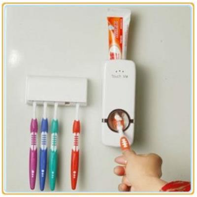 Automatic Toothpaste Dispenser with 5 Toothbrush Holder Set Wall Mount Stand