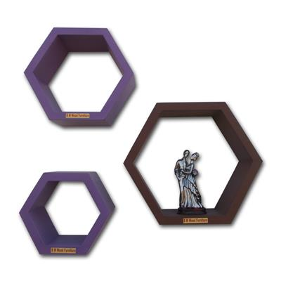 B M WOOD FURNITURE WOODEN Hexagon Shape Wall Shelve