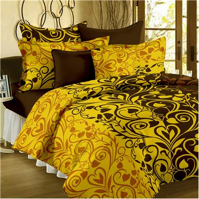 Bedspun 100% Cotton Yellow and Brown 1 Double Bedsheet With 2 Pillow Cover