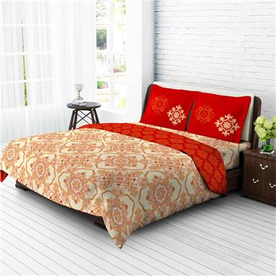 Berry Island 144TC Double Bedsheet sheet with 2 pillow Cover - Red