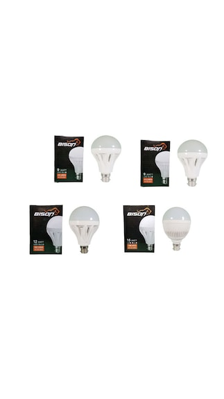 15W,-12W,-9W-B22-LED-Bulb-(Cool-Daylight,-Pack-Of-4)