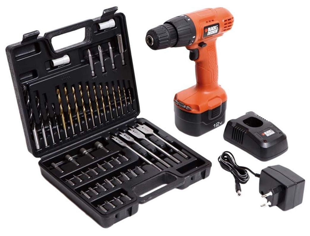 Black & Decker CD121K50Black & Decker Red Cordless Drill With Keyless Chuck And 50 Pcs. Tool Kit