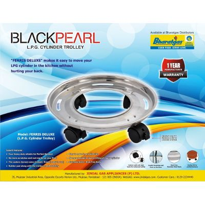 Black Pearl Stainless Steel Gas Cylinder Trolley