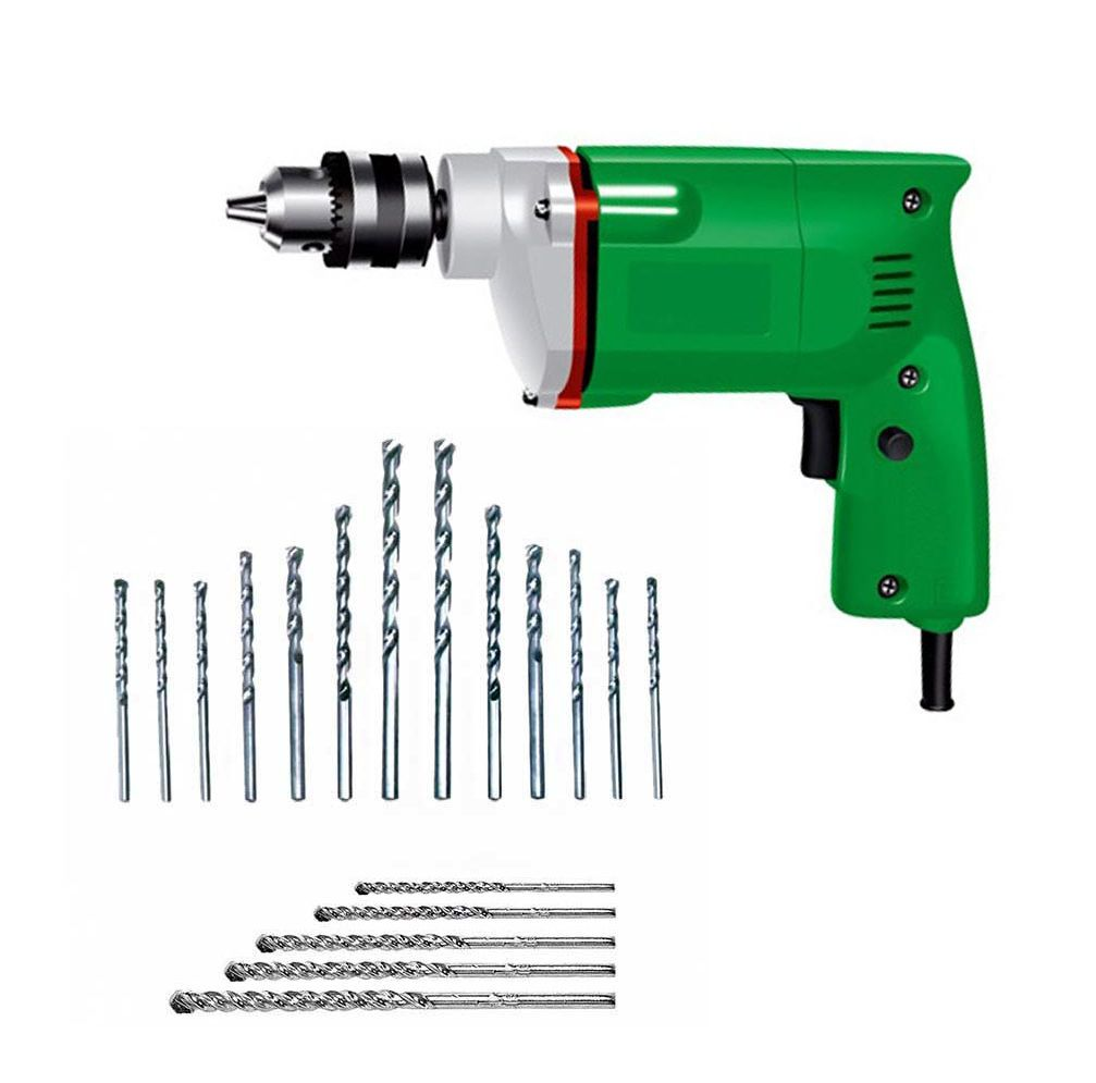 POWERFUL 10MM DRILL MACHINE WITH 13PCS HSS METAL/WOOD BIT SET & 5PCS MASNORY WALL BIT SET (COLOUR ASSORTED)