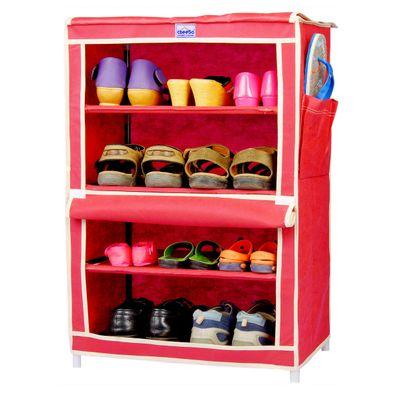 CbeeSo Stainless Steel Shoe Cabinet (Beige, 4 Shelves)